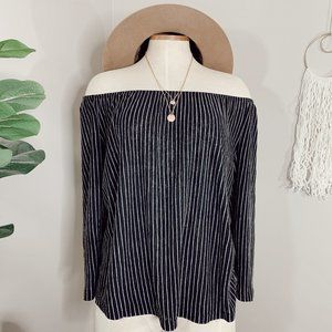 W5 X ANTHRO striped off the shoulder top